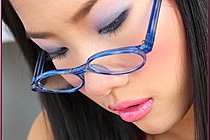 Kieko Kyo In Glasses Strips And Plays With Milk Bottle