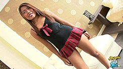 Long Hair Falling Over Her Black Top Wearing Plaid Short Skirt