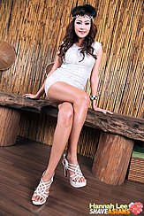 Sitting Cross Legged On Bench Wearing White High Heels