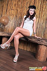 Hannah Lee Seated Cross Legged On Bench Long Hair High Heels