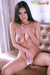 Mali Tai Sitting On Couch Naked Big Breasts Shaving Cream On Her Pussy Hair