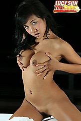 Hair Falling Over Breast Teen Asian Breasts Squeezed Together Trimmed Pussy Hair On Knees