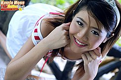On All Fours Face Resting On Hands Strap Of Striped Top Falling From Bare Shoulder