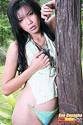 Kee Onnapha Standing Against Tree Wearing Panties