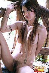 Seated Naked Legs Open Hairy Pussy Long Hair Over Her Breasts