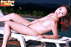 Lying On Lounger Naked Small Breasts Hand Between Her Legs