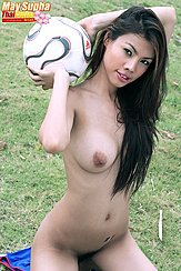 May Supha Nude Holding Football Long Hair