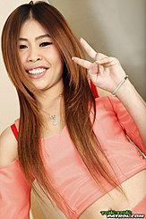 Flashing Vee Sign Long Hair Framing Her Cute Face